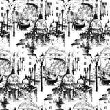 Ulicy w Wenecja W?ochy z gondol? bezszwowy wzoru ilustracja wektor