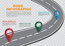 Uliczna drogowa mapa na w kratkę tle, biznesowy infographics z kolorowym wałkowym pointerem, wektorowa ilustracja ilustracji