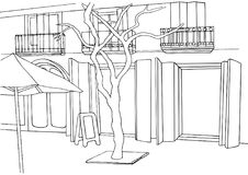 Uliczna ilustracja Miasta nakreślenie Europejska ulica z budynkami, drzewo Fotografia Stock