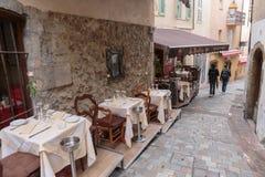 Uliczna kawiarnia w Cannes zdjęcia royalty free