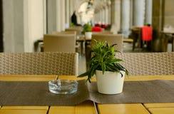 Uliczna kawiarnia z kwiatami w ranku w łukowatej galerii w europejskim starym mieście Zdjęcia Stock
