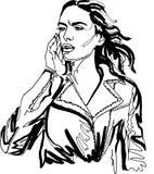 Uliczna moda, dziewczyna w kurtce, ciągła linia Obraz Stock