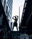 Uliczna punkowa dziewczyna w Miastowym Dziewczyna pobyt na ścianie malował z graffiti pod mostem obrazy royalty free