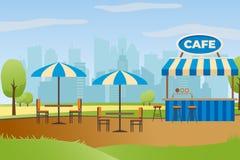 Uliczna restauracja lub bar w miasto parka wektorze ilustracja wektor