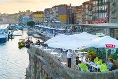 Uliczna restauracja Portugal porto Zdjęcia Stock