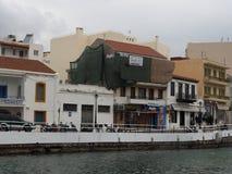 Uliczna scena Agios Nikolaos Crete Grecja Obraz Royalty Free