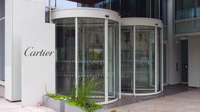 Uliczna signage deska z Cartier logem zbudować nowoczesnego urzędu Redakcyjny 3D rendering Obraz Stock