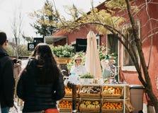 Uliczna sprzedaż świezi soki i jarski jedzenie Ulica handel Zdjęcie Stock