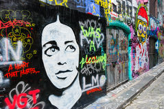 Uliczna sztuka - Hosier pas ruchu Melbourne, Australia - Zdjęcie Royalty Free
