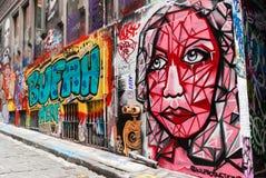 Uliczna sztuka - Hosier pas ruchu Melbourne, Australia - Zdjęcia Stock