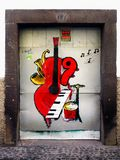 Uliczna sztuka, Malujący drzwi, madera Obrazy Stock