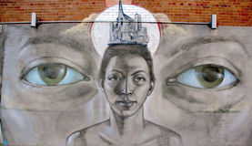 Uliczna sztuka Montreal stawia czoło Obrazy Stock