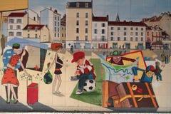 Uliczna sztuka na ścianach Zdjęcie Royalty Free