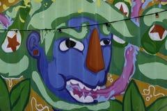 Uliczna sztuka na ścianie przy biednym miastem Rotterdam obrazy stock