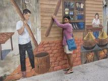 Uliczna sztuka na ścianie w Songkhla Tajlandia Fotografia Stock