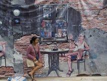 Uliczna sztuka na ścianie w Songkhla Tajlandia Obraz Royalty Free