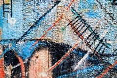 Uliczna sztuka - stary graffiti na ścianie Obrazy Royalty Free