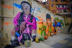 Uliczna sztuka w Comuna 13, Medellin, Kolumbia zdjęcie royalty free