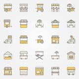 Uliczne karmowe kolorowe ikony spokojnie redaguje projekt elementów wektora royalty ilustracja