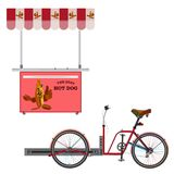Ulicznego hot dog roweru wektorowa płaska ilustracja Obraz Stock
