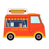 Ulicznej karmowej festiwalu hot dog przyczepy wektorowy restauracyjny samochód Obrazy Stock