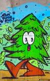 Ulicznej sztuki Montreal jedlinowy drzewo Zdjęcia Stock