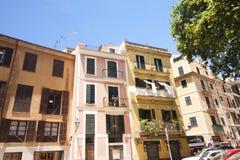 Uliczni i starzy budynki w historycznym centrum miasta Palma Mallorca, Hiszpania 30 06 2017 Obrazy Stock
