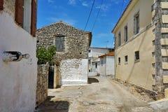 Uliczni i starzy domy w Ag Leon wioska, Zakynthos, Ionian wyspy, Grecja Obrazy Stock