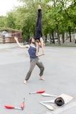 Uliczni juggler wykonawcy Wiedeń Zdjęcie Royalty Free