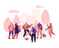 Uliczni muzycy Wykonują Plenerowego przedstawienie Gitarzysta i saksofonista Bawić się muzykę w parku, ludzie Ogląda koncert, Sta ilustracji
