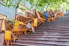 Uliczni schodków smartphones Soho centrali Hong Kong ludzie zdjęcia royalty free