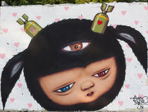 Uliczni sztuka graffiti, obrazy na ścianie Obraz Stock