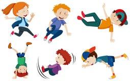 Uliczni tanów dzieciaki na Białym tle ilustracji