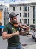 Uliczny artysta Quebec miasta spełnianie Zdjęcia Royalty Free