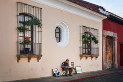 Uliczny artysta w Antigua, Gwatemala obraz royalty free