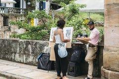 Uliczny artysta w Unesco światowego dziedzictwa mieście, Ouro Preto, minas gerais, Brazylia zdjęcia royalty free