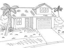 Uliczny drogowy grafika domu czerni bielu krajobrazu nakreślenia ilustraci wektor Zdjęcia Royalty Free