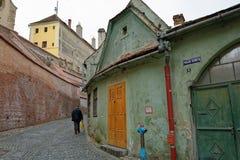 Uliczny dziejowy centrum Sibiu, Rumunia Zdjęcie Royalty Free