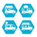Uliczny fast food ciężarówki ikony set Zdjęcie Royalty Free