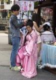 Uliczny fryzjer, Szanghaj Obrazy Stock