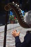 Uliczny harpist bawić się Obraz Stock