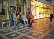 Uliczny jazzowy kwartet w Praga Obraz Stock