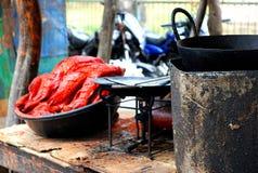 Uliczny jedzenie - Smażąca ryba Zdjęcie Stock