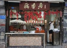 Uliczny karmowy sprzedawca w Chengdu, Chiny zdjęcia royalty free