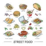 Uliczny karmowy wektorowy fastfood hamburger lub piec na grillu ilustracyjny ustawiający post kiełbas, tradycyjnego i kuchni fala Zdjęcie Stock