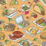 Uliczny karmowy wektorowy fastfood hamburger lub piec na grillu ilustracyjny ustawiający post kiełbas, tradycyjnego i kuchni fala Zdjęcie Royalty Free