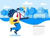 Uliczny muzyk Mężczyzna zespół Uliczny występ Wektorowy illustrati ilustracja wektor