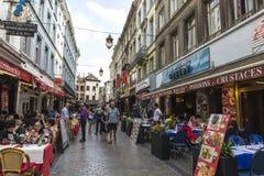 Uliczny pełny bary i restauracje w Bruksela, Belgia Zdjęcie Royalty Free