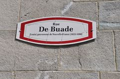 Uliczny Signboard Ruta De Buade od Starego Quebec miasta w Kanada Obraz Stock