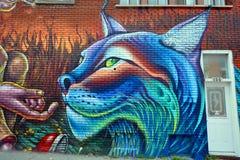 Uliczny sztuki Montreal tygrys Fotografia Stock
